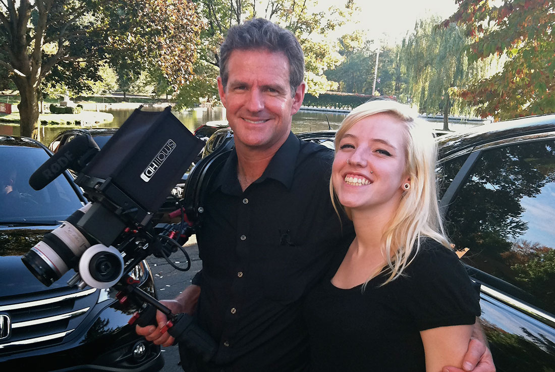 Tom and daughter Mia, shooting film for Honda.